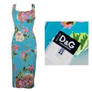 DOLCE & GABBANA Blue Floral Print Midi Dress 30/44